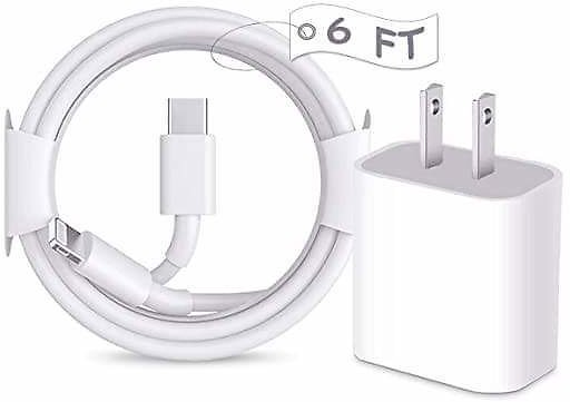 Long IPhone 12 Fast Charger, [Apple MFi Certified] 6FT USB C Charger 20W PD Type C Power Delivery Wall Plug Adapter from Amazon.