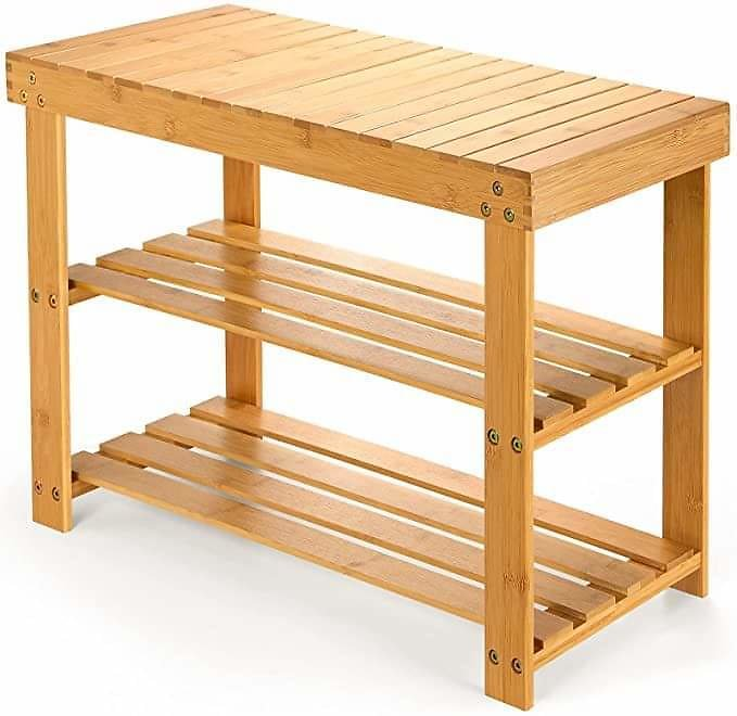 Bamboo Shoe Rack Bench, 3-Tier Shoe Shelf Organizer Holds Up to 220 Lbs, Entryway Storage Bench from Amazon.