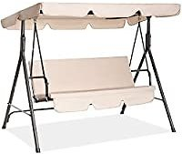 Fundouns 2-Person Patio Porch Swing Chair with Canopy and Removable Cushions (Beige) from Amazon.com