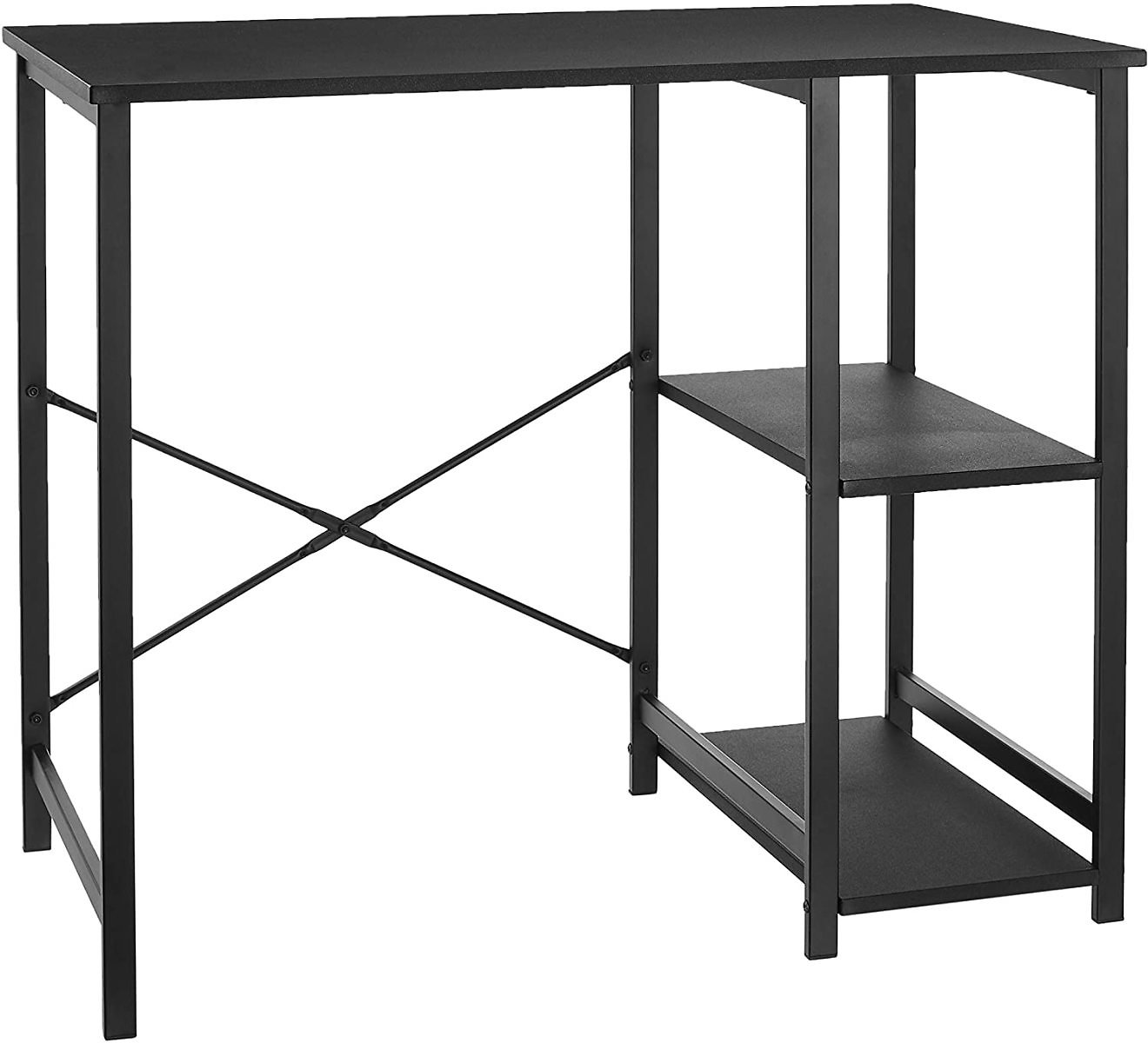 Amazon Basics Classic, Home Office Computer Desk With Shelves, Black for $43.59