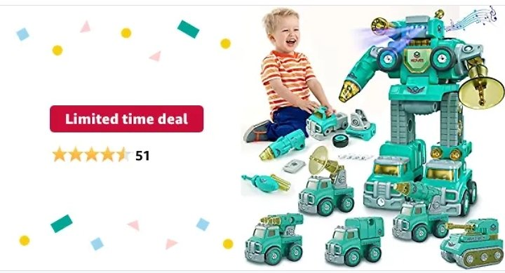 Kids Toys for 3 4 5 6 Year Old Boys, Construction Transform Robot Toys from Amazon.