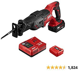 SKIL PWRCore 20 Brushless 20V Reciprocating Saw Kit with 4.0Ah Battery, PWRJump Charger, and PWRAssist USB Adapter - RS5884-1A