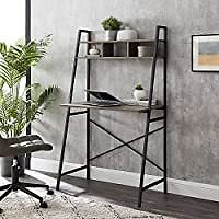 Walker Edison Industrial Wood and Metal X-Back Ladder 56 Inch Desk (Grey Wash) from Amazon