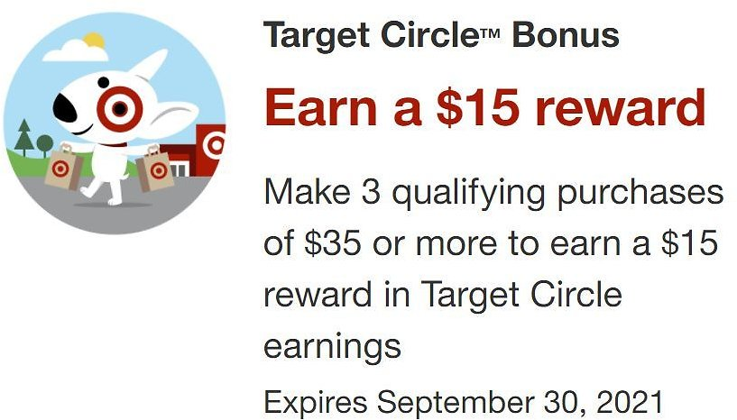 Earn a $15 Target Circle Reward with 3 Purchases in September