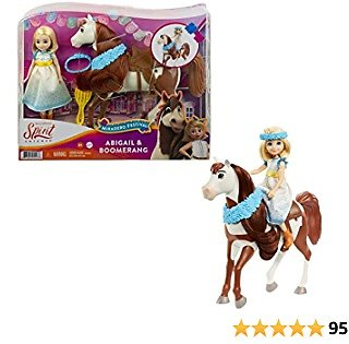 Mattel Spirit Untamed Miradero Festival Abigail Doll (7-in) with Dress, Floral Crown & Boomerang Horse (8-in), Floral Garland, Saddle & Brush, Great Gift for Ages 3 Years Old & Up