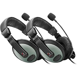 Etekcity 2 Pack RoverBeats Bravo Professional Over Ear Stereo Headset With Microphone, Black/Green
