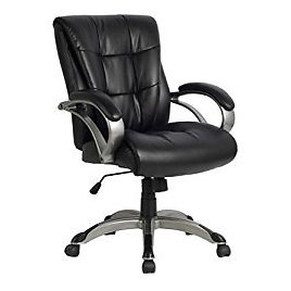 VIVA OFFICE Ergonomic Mid Back Bonded Leather Computer Task Office Chair with Padded Arms: Kitchen & Dining