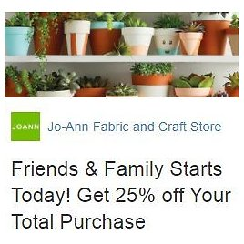 Joann | 25% Off Total Purchase (3 Coupons) or $1.99 Shipping