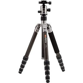 """MeFOTO GlobeTrotter Carbon Fiber Tripod Kit, 5 Sections, 64.17"""" Max Height, 26.45 lbs Load Capacity, Includes Double Action Ball"""