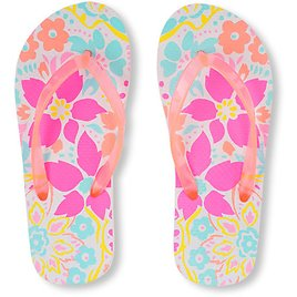 Girls Neon Floral Print Flip Flop (Free Shipping)