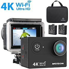 Muson 4K WIFI Waterproof Sports Action Camera 2.0'' Screen and 19 Accessories Kit $27.99