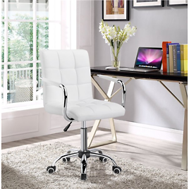 Yaheetech Stylish Office Chair Height Mid Back PU Leather Seat