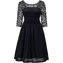 Floral Lace 3/4 Sleeve Flare Cocktail Tube Dress for Plus Size Women0X-5X