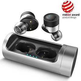 Portable True Wireless Bluetooth Earbuds w/ Mic and Charging Case