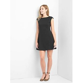 Cap Sleeve Fit and Flare Dress (Black)