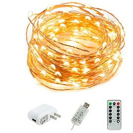 HSicily LED USB String Lights 8 Modes 33Ft 100 LEDs Starry Fairy Lights Plug in Remote Control with Timer