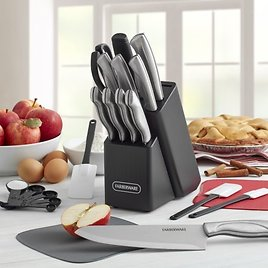 Farberware 22-Piece Stainless Steel Knife Set with Cutting Mats
