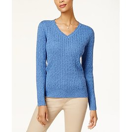 Stylish in a V-neck Silhouette, Karen Scott's Sweater Is Cozy with Classic Cable-knit Texture.