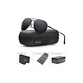 Womens Aviator Polarized Black By LUENX, LightWeight Metal Frame,Large 60mm Lens,with Case