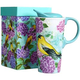 Travel Coffee Ceramic Mug Porcelain Latte Tea Cup With Lid in Gift Box 17oz.