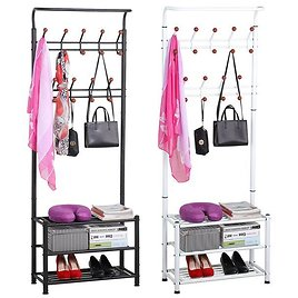 3-Tier Metal Multi-purpose Garment Rack Coat Clothes Stand Shoes Shoes Rack Umbrella Stand With Hanging Hooks