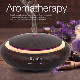 RyuGo Aromatherapy Essential Oil Diffuser 150ml Wood Grain Ultrasonic Cool Mist Aroma Diffusers Waterless Auto Shut-off Humidifier with 14 Colors Changing LED Lights: Home & Kitchen