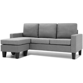 (Ships Free) Multifunctional Linen 3-Seat Sofa Couch w/ Reversible Chaise Ottoman