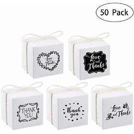 Candy Boxes with Burlap Twine for Wedding Party, Bridal Baby Showers, Engagement, Birthday, Graduation, Business, Anniversary