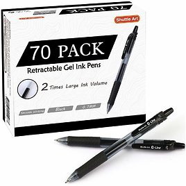 70 Pack Black Gel Pens, Shuttle Art Retractable Medium Point Rollerball Gel Ink Pens Smooth Writing with Comfortable Grip