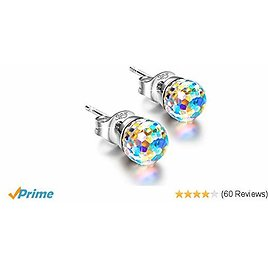 Amazon  925 Sterling Silver Ball Earrings Made with Swarovski Crystals+Free Shipping