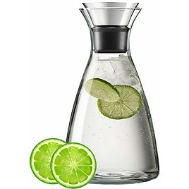Best Glass Water Carafe With Drip-Free Stainless Steel Flip-Top Lid For Hot Or Cold Beverage, Juice And Wine 1000ml/34oz