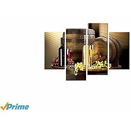 Moco Art Canvas Wall Art Painting Grape and Wine Painting Food Pictures Print On Canvas For Living Room Home Decor Stretched and Framed Ready to Hang 4 Panels