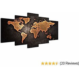 Canvas Painting Abstract World Map Picture Printed On Canvas Giclee Artwork Stretched and Framed Wall Art for Living Room Home Decor Ready to Hang (Brown Small)