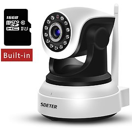 Sdeter 720P WiFi Camera with Night Vision Motion Detection for Baby Elder Pet PTZ Include 16G SD Card