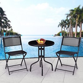 (Ships Free) Gymax 3 Pcs Bistro Set Folding Chairs Outdoor Patio Furniture