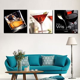 Wholesale Wine And Cups 3 Panels Abstract Canvas Prints Artwork Picture Paintings On Canvas Wall Art For Home Home Decorations By Meiledipainting Under $13.42 | DHgate.Com