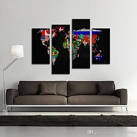2018 Map Canvas Wall Art Painting Flag In World Map The Picture Print On Canvas For Home Living Room Decor Unframed Ready To Hang From Meiledipainting, $34.56 | DHgate.Com