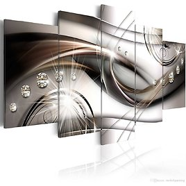 2018 Amosi Art Brown Glitter 5 Panels Modern Abstract Painting Canvas Wall Art Print Decorative Diamond Crystal HD Picture Print Artwork From Meiledipainting, $42.5 | DHgate.Com