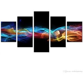 2018 Amosi Art 5 Panels Abstract Canvas Print Wall Art Colorful Cloud And Smoke Ribbon Painting Decor Wall Picture For Home Living Room Framed From Meiledipainting, $42.5 | DHgate.Com