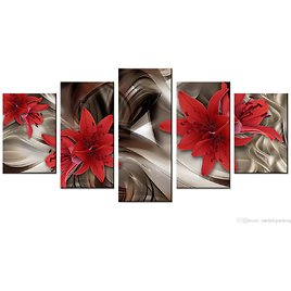 2018 Amosi Art Red Lily Flowers Canvas Wall Art Abstract Lines Background Canvas Painting Wall Picture For Home Decor Framed Ready To Hang From Meiledipainting, $42.5 | DHgate.Com