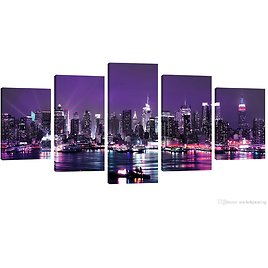 2018 Amosi Art 5 Panels Canvas Wall Art Purple Night View Of City Beautiful Landscape Canvas Painting For Home Decorations Ready To Hang From Meiledipainting, $42.5 | DHgate.Com
