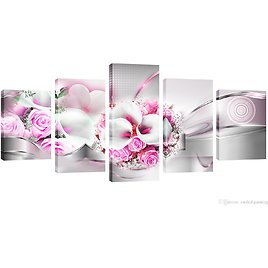 2018 Amosi Art Pink Rose And Morning Glory Pictures Wall Art On Canvas Flower Painting Modern Floral Artwork Framed For Home Deco From Meiledipainting, $42.5 | DHgate.Com