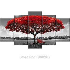 2018 Amosi Art 5 Panels Red Tree Canvas Painting Flowers Wall Art Landscape Artwork Print On Canvas For Home Decor Wooden Framed Ready To Hang From Meiledipainting, $71.47 | DHgate.Com