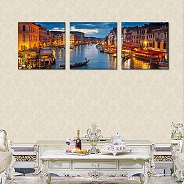 Best Quality 3 Panels Venice Night View Canvas Paintings Artwork Print Landscape Wall Art Painting With Wooden Framed For Home Decoration Ready To Hang At Cheap Price, Online Paintings | DHgate.Com