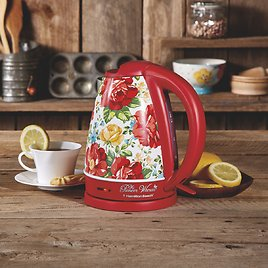 Pioneer Woman 1.7 Liter Electric Kettle Red/Vintage Floral By Hamilton Beach