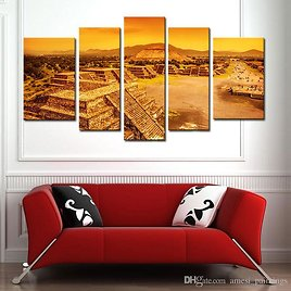 2018 5 Picture Maya Pyramid Canvas Painting Wall Art The Picture For Home Wall Decor Ruins Of Aztec Civilization Mexico Architecture Wall Art From Amesi_paintings, $30.98 | DHgate.Com