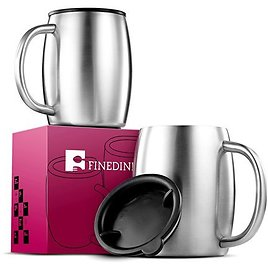 Premium Grade Stainless Steel Coffee Mugs with Lids (Set of 2) Double Walled Insulated Travel Mugs