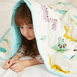 Hiseeme Cool Weighted Blanket for Kids 7lbs, 41''x60'', 100% Breathable Cotton Fabric, Dinosaur