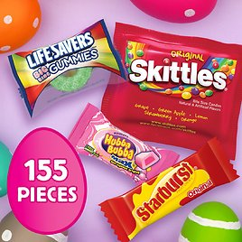 SKITTLES, STARBURST, LIFE SAVERS and HUBBA BUBBA Gum Easter Hunt Mix, 155 Fun Size Pieces, 46.2 oz.