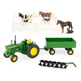 John Deere Toy Tractor Set, 4020 Tractor & Farm Toy Playset, 1:32 Scale, 20 Piece